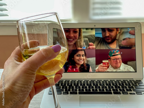 Virtual happy hour in a time of quarantine Wallpaper Mural