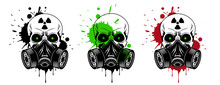 Vector Skulls Set With Gas Mas...