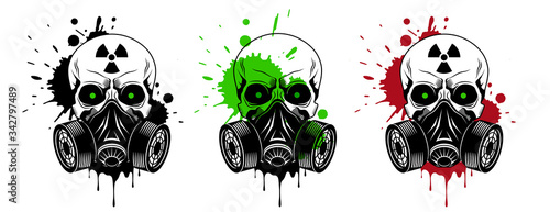 Fotografia, Obraz Vector skulls set with gas mask, radiation sign, glowing eyes and paint splashes and drips on white background