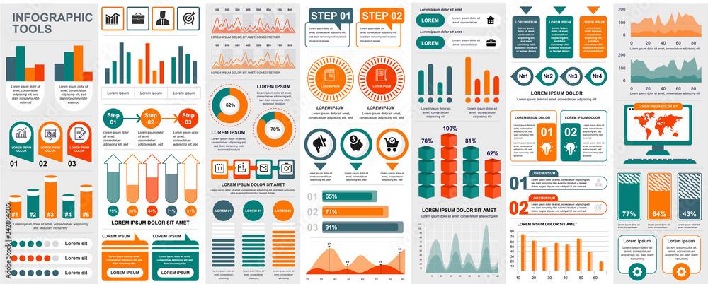 Fototapeta Bundle infographic UI, UX, KIT elements with charts, diagrams, workflow, flowchart, timeline, online statistics, marketing icons elements design template. Vector info graphics and infographics set.