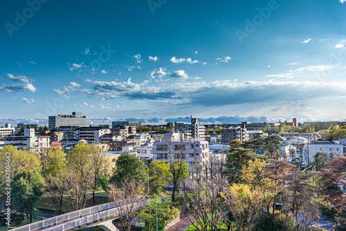 Fototapeta 青空と雲と地方都市の街並み obraz