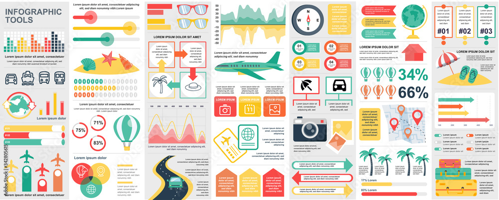Fototapeta Bundle travel infographic UI, UX, KIT elements with charts, diagrams, summer vacation, flowchart, travel timeline, journey icons elements design template. Vector info graphics and infographics set.