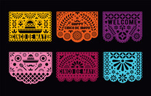 Vector Papel Picado Cards Set....