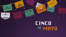Happy Cinco De Mayo Greeting Banner With Papel Picado Garland For Mexico Independence Celebration. Traditional Papercut Flags With Decorative Elements. Folk Art.