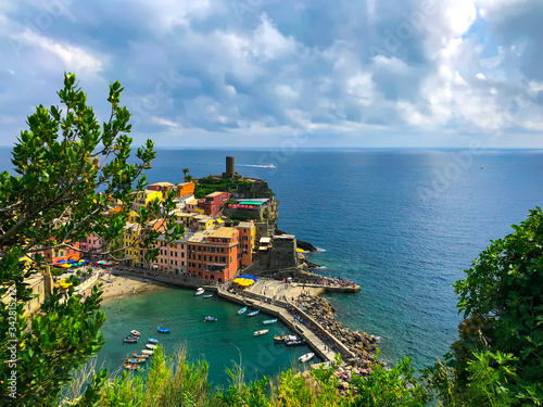 Gorgeous aerial view of the bay in Vernazza Tablou Canvas