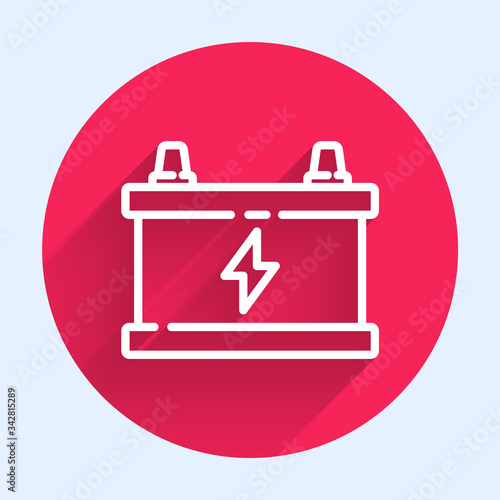 Photo White line Car battery icon isolated with long shadow