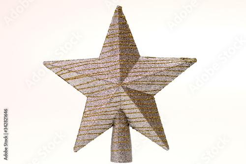 Decoración de navidad de estrella plateado con rayas moderna Canvas Print