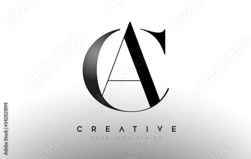 Photo AC CA letter design logo logotype icon concept with serif font and classic elega