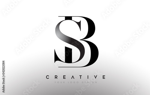 Fototapeta SB BS letter design logo logotype icon concept with serif font and classic elegant style look vector obraz
