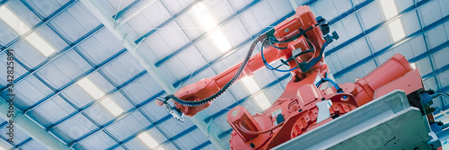 Foto web banner robotic and AI engineering with technology 4