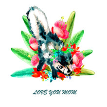 Watercolor Happy Mother's Day Greeting Card With Cute Little Baby Animal Skunk And Text LOVE YOU MOM.