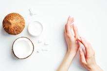 Female Hands Applying Coconut ...