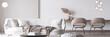 Leinwanddruck Bild - Stylish white modern living room interior, home decor