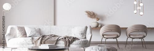 Fototapeta Stylish white modern living room interior, home decor obraz