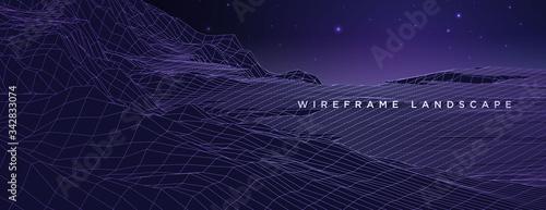 Fotomural wireframe landscape vector
