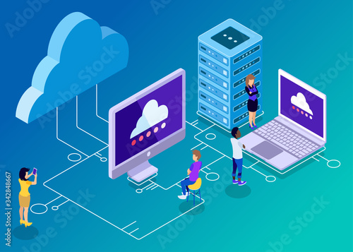 Fototapeta Isometric Vector Illustration Representing Computer Backup and Storage Technolog