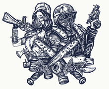 Post Apocalypse Tattoo And T-shirt Design. Soldier Woman In Gas Mask And Futuristic Warrior With Weapon In Hand. Doomsday, Survival People. Post Apocalyptic Future. Game Art. Dark Crime Future