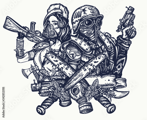 Fototapeta Post apocalypse tattoo and t-shirt design