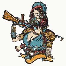 Post Apocalypse. Soldier Woman In Gas Mask. Doomsday Girl And Kalashnikov Machine Gun. Game Art. Survival People. Dark Crime Future, Tattoo And T-shirt Design. Post Apocalyptic Warrior