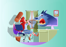 Flat Vector Illustration Representing A Red Hooded Girl Sitting On A Chair In Front Of Computer Attacking A Wolf That Appears From The Monitor