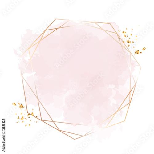 Obraz na plátně Golden line art, watercolor style pink texture splash