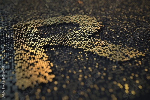 Foto Golden numbers bars compose ZAR South African rand symbol on black background