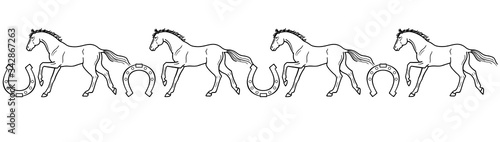 Fototapeta Galloping horses and horseshoes - linear, vector, seamless border for coloring