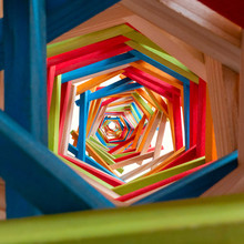 Colorful Wooden Blocks Forming An Infinite Tunnel