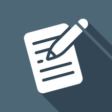 Write Text, Create Or Edit Document, Pencil And Paper. White Flat Icon With Long Shadow On Blue Background