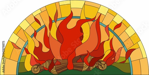 the stained glass window with fire Canvas Print