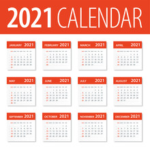 2021 Calendar Leaves Set - Vec...