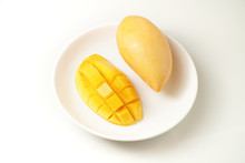 Fresh Mango On White Plate And...