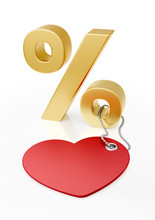Promo-Mockup For Discounts Or Percent Rates. 3D-sign Of A Percent Standing Behind Of A Red Heartshaped Tag Which Are Both Placed On Reflective White Background. 3D Rendering Graphics.