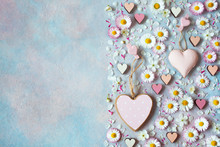 Pink Hearts And Daisy Flowers,...