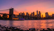 Magical evening sunset view of the Brooklyn bridge from the Brooklyn park