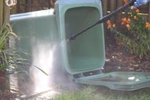 Jet Washing The Wheely Bin