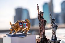 A Raging Golden Bull And Statu...