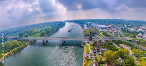 Fotografie, Obraz Nibelung Bridge over the Rhine River in Worms Germany