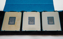 Above View Of Three New Powerful New Professional CPU Processor Unboxing