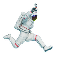 Astronaut Is Doing A Jump Action
