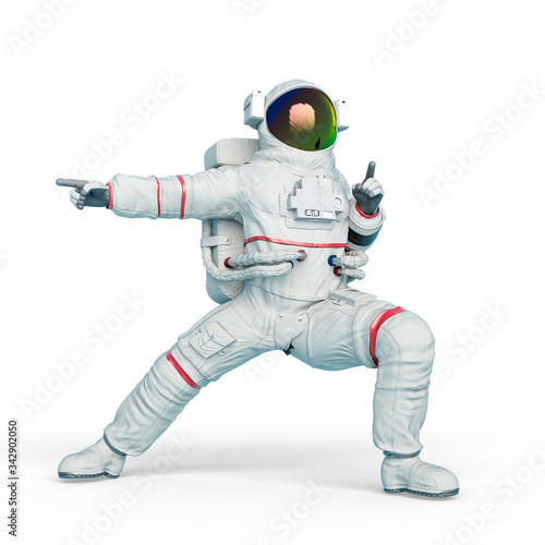 astronaut is doing an action fight pose Poster Mural XXL