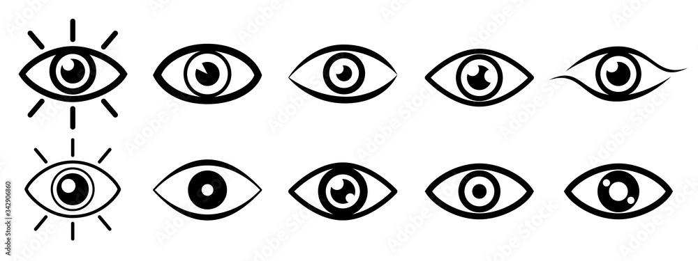 Fototapeta Set eye icons, vision sign – stock vector