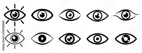 Fototapeta Set eye icons, vision sign – stock vector