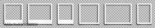 Fototapeta Set empty white photo frame with shadows - stock vector obraz