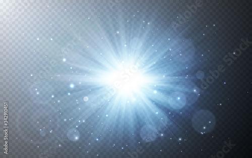 Fotomural Sunlight special lens flash light effect on transparent background