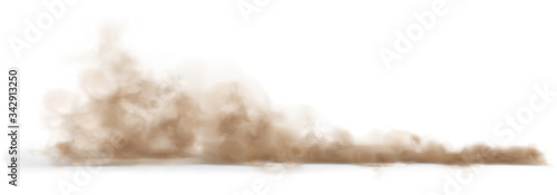 Obraz Dust sand cloud on a dusty road from a car. - fototapety do salonu