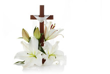 Cross With Lilies Isolated On ...