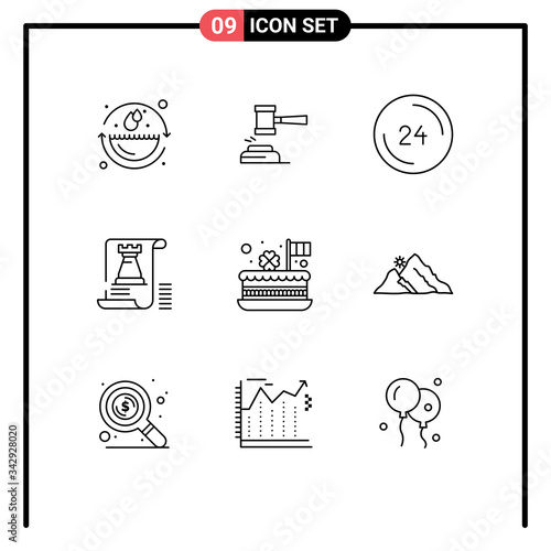 Set of 9 Vector Outlines on Grid for document, contact, hammer, clock, anytime Wallpaper Mural