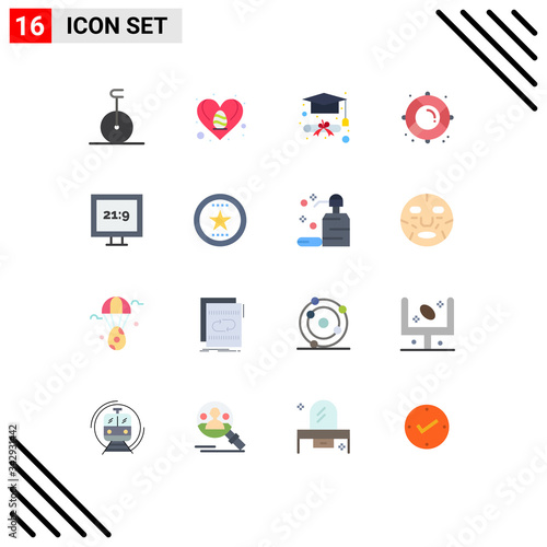 Photo Mobile Interface Flat Color Set of 16 Pictograms of award, hd, graduation, aspec