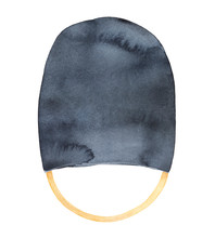 Watercolour Illustration Of Black Bearskin Hat With Golden String. One Single Object. Hand Painted Water Color Sketchy Drawing, Cutout Clipart Element For Creative Design Decoration, Print, Banner.